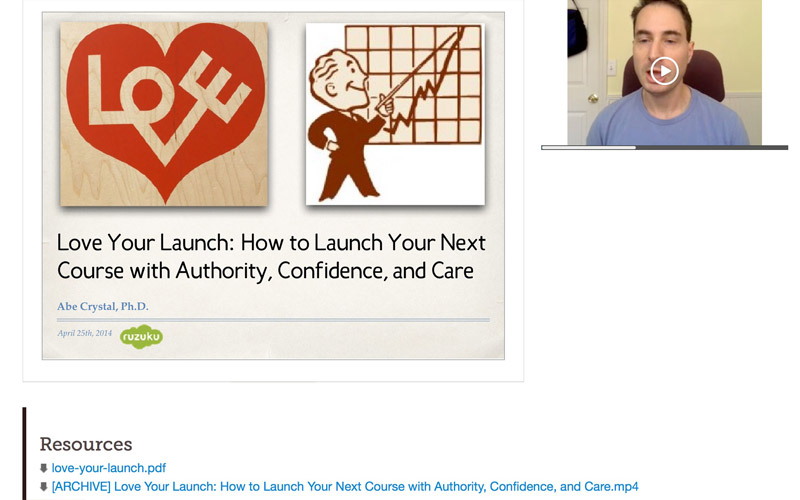 Screenshot of Abe running a webinar